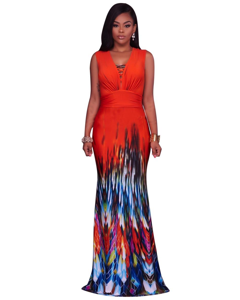 Eleanor Summer Red African Print Women Long Dress – Trendyhera