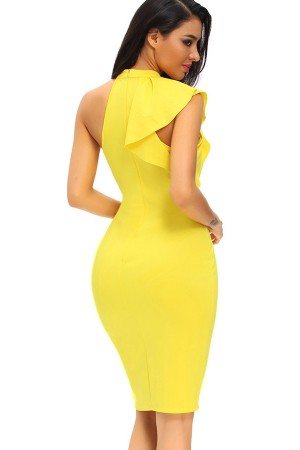 2346f39373ee Yellow Mock Neck Ruffles Sleeveless Sexy Bodycon Dress – Trendyhera