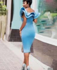 Screenshot-2018-2-9 Blue Falbala V Neck Women's Bodycon Dress