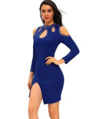 Blue-Funky-Studded-Cutout-Cold-Shoulder-Dress-LC61205-5-8