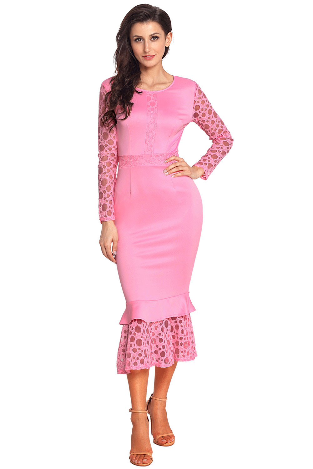 Bonnie Long Sleeve Lace Dress Pink Trendyhera