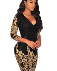 black-victorian-gold-sequins-3-4-sleeves-bodycon-dress